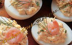 Dukan Shrimp Deviled Eggs Dukan Diet Recipes, Cooking Recipes, Healthy Recipes, Shrimp Deviled Eggs, Low Carb Diet, Healthy Eating, Vegan, My Favorite Things, Ethnic Recipes