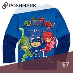"""PJ Masks Boy's Toddler """"Action Leap"""" Slider Shirt Brand new with tags. This signature PJ Masks group shot long sleeve tee is officially licensed from Disney Junior. Styled to look like a short sleeve over a long sleeve, the forearms feature a unique logo print, while the body of the shirt has a graphic print of the three heroes Catboy, Owlette, and Gekko. This shirt features a cotton and polyester blend. PJ Masks Shirts & Tops Tees - Long Sleeve"""