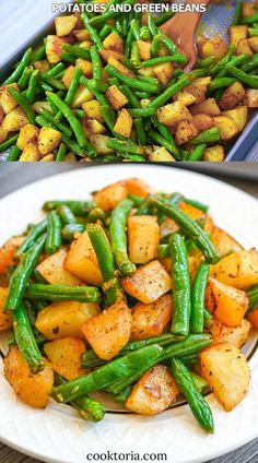 Green Beans And Potatoes, Roasted Green Beans, Green Onions, Easy Dinner Recipes, Healthy Dinner Recipes, Vegetarian Recipes, Vegan Vegetarian, Cooking Recipes, Budget Cooking