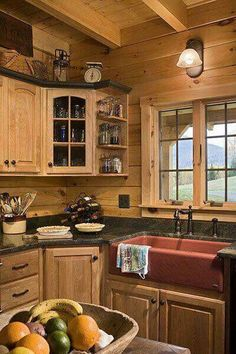 55 Simple Rural Farmhouse Barn Wood Kitchen Ideas - Page 3 of 55 - Decorating Ideas - Home Decor Ideas and Tips Red Kitchen Decor, Country Kitchen, New Kitchen, Kitchen Design, Kitchen Ideas, Kitchen Interior, Kitchen Sink, Cozy Kitchen, Kitchen Wood
