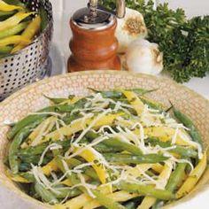 "Garlic Green and Wax Beans Recipe -""Even non-garlic lovers like this fresh-tasting salad,"" shares Marilou Robinson of Portland, Oregon."