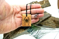 This item is unavailable Ink Transfer, Wooden Necklace, Cancer, Prints, Handmade, Etsy, Wood Necklace, Hand Made, Printmaking