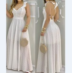Maxi Dress With Slit, White Maxi Dresses, Casual Dresses, White Dress, Look Fashion, Womens Fashion, Online Dress Shopping, Women's Fashion Dresses, Dresses Online