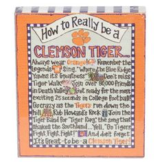 """Clemson Tigers """"How to Really be a Clemson Tiger"""" Decorative Canvas #clemson"""