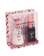 The shake 'n polish salt and pepper set puts a touch of glam on the table.  Now, polish off that food!