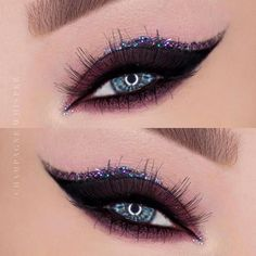 Dramatic liner Lashes Glitter This look is GOAL Black Eye Makeup, Dramatic Eye Makeup, Cat Eye Makeup, Natural Eye Makeup, Smokey Eye Makeup, Glam Makeup, Eyeshadow For Green Eyes, Makeup For Green Eyes, Eyeshadow Looks