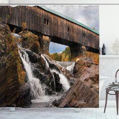 Rustic Oak Bridge Shower Curtain – joocarhome Shower Curtain Sets, Fabric Shower Curtains, Rock Falls, Curtain Store, Bathroom Decor Sets, Covered Bridges, Duvet Cover Sets, Cool Designs, Landscape
