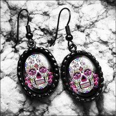 Pink Day of the Dead Tattoo Sugar Skull & Roses by KasketKustoms, $20.99
