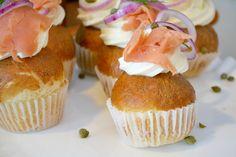 What's for brunch? Bagel cupcakes topped with smoked salmon, capers, and cream cheese by Chef Steve Konopelski.