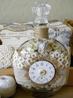 *Queen Bee Cottage*: Spring Party from Nesa- Lovely way to use old buttons and lace .maybe inside vintage canning jar