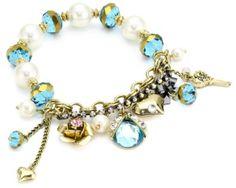 "Betsey Johnson ""Iconic Seasonal Essentials"" Crystal Bug Multi-Charm Half Stretch Bracelet"