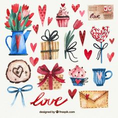 Pack of fantastic watercolor objects for valentine's day Free Vector Valentines Illustration, Cute Illustration, Watercolor Illustration, San Valentin Vector, Valentines Watercolor, Doodles, Rose Wallpaper, Watercolor Artwork, Aesthetic Stickers