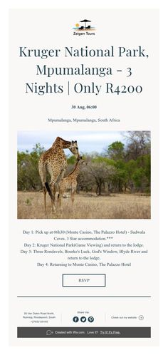 Kruger National Park, Mpumalanga - 3 Nights | Only R4200 Africa Day, South Africa, Kruger National Park, National Parks, Palazzo Hotel, Tours, Night