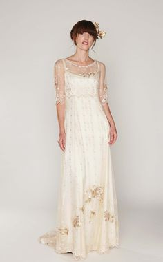 This Boho-Style wedding dress of embroidered netting over a double silk satin slip dress, sweep train, mid-length sleeve, vintage/Hippie Inspired is just one of the custom, handmade pieces you'll find in our bridal gowns & separates shops. Boho Wedding Dress With Sleeves, Simple Wedding Gowns, Plus Size Wedding, Lace Dress, Lace Wedding, 1920s Wedding, Gown Wedding, Simple Weddings, Trendy Wedding