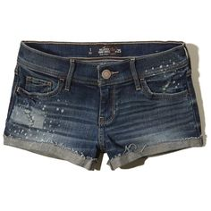 Hollister Low Rise Denim Short-Shorts ($7.99) ❤ liked on Polyvore featuring shorts, dark destroyed wash, denim cutoff shorts, micro shorts, low rise short shorts, cut-off shorts and mini shorts