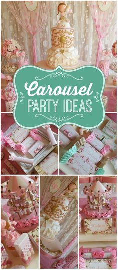 You won't believe all the details in this carousel party! Cake Smash, photo session, even birthday party inspiration Carousel Birthday Parties, Carousel Party, Circus Party, First Birthday Parties, First Birthdays, Circus Birthday, Horse Birthday, Girl Birthday, Birthday Ideas