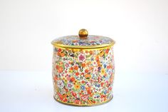 Vintage English Round Floral Tin with Lid