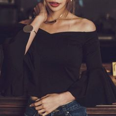 Alluring Bell Sleeve Off-The-Shoulder Women's Crop Top
