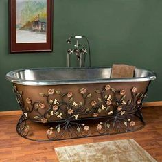 Stainless steel copper plated.  Awesome tub!