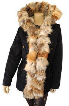 Parka ajustée montebello avec bordure en fourrure de coyote - Définition de perte de poids anormale