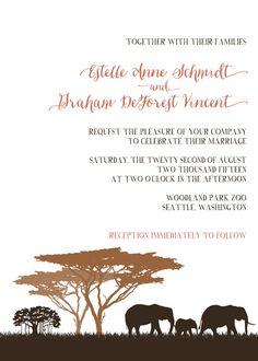Wedding Invitations Zoo Invitations/Safari by WhoaNelliePress