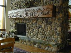 Cobble Stone  Delta Stone Products carved mantel