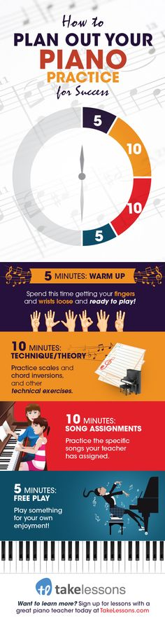 Infographic: How to Practice Piano for Your Best Results: http://takelessons.com/blog/how-to-plan-out-piano-practice-z06?utm_source=social&utm_medium=blog&utm_campaign=pinterest