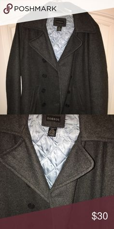Gray Wool Coat This coat has kept me warm all season. It is in great condition. I usually wear a scarf or hat with it. It stops about mid-hip. Jackets & Coats Pea Coats