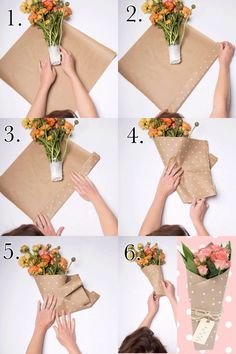 How to wrap a flower bouquet with craft paper How to wrap a flower bou… - DIY Blumen Wrap Flowers In Paper, How To Wrap Flowers, Diy Flowers, Flower Paper, Flower Wrap, Flower Bouquet Diy, Bouquet Wrap, Gift Bouquet, Paper Bouquet Diy