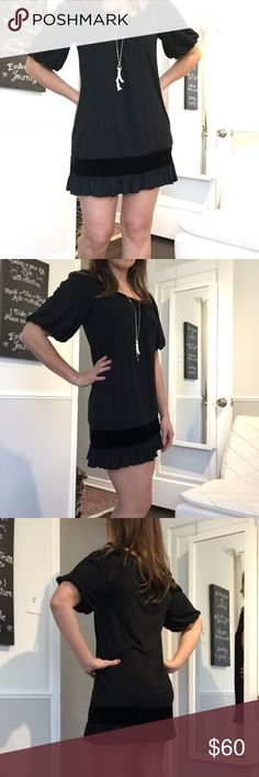 """JUICY COUTURE: Casual Summer, Beach Dress Super soft and yummy Juicy Couture black cotton mini dress with velvet trim detail. Perfect as an easy around town dress, vacation casual dress, or cover up. Really fun and comfy to wear! Excellent used condition! I'm 5'7"""" for height reference. Size says P (but Im not petite), and the fit is definitely a Small/Medium. Juicy Couture Dresses Mini"""