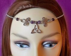 Hematite Celtic Circlet Medieval Headdress by TheCharmedMaiden