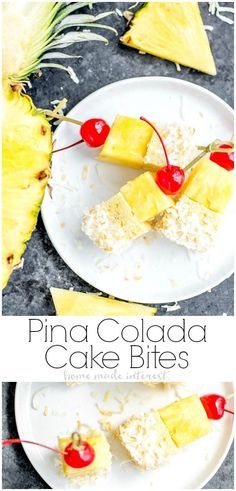 These delicious Pina Colada Cake Bites are skewers of pound cake, pineapple, pina colada icing, and toasted coconut. This tropical summer dessert is the perfect bite-size dessert for summer parties! Mini Desserts, Best Summer Desserts, Bite Size Desserts, Desserts For A Crowd, Great Desserts, Party Desserts, Food For A Crowd, Appetizers For Party, Dessert Recipes