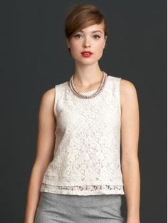 Banana Republic Mad Men Collection Lace Shell