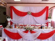 Red And White Wedding Decorations, Wedding Hall Decorations, Quince Decorations, Red And White Weddings, Banquet Decorations, Quinceanera Decorations, Backdrop Decorations, Elegant Baby Shower, Backdrops For Parties