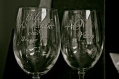 engraved wine glasses for anniversary or wedding :) Me likey!