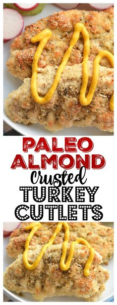 Paleo Almond Crusted Turkey Cutlets make a fast & furious 20 minute dinner! Oven baked on a sheet pan with rosemary, this recipe makes juicy, tender cutlets with the perfect crunch! Paleo + Gluten Free + Low Calorie