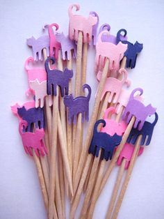 24 Pink Purple Mini Cats Party Picks - Cupcake Toppers - Toothpicks - Food Picks - die cut punch FP155 on Etsy, $3.99