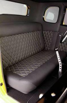 Scott Rueschenbergs Five Window Interior Stitched 2 Inch Diamond Pattern In Black Leather Bench Seat