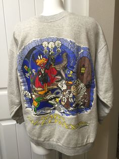 Looney Tunes Halloween Sweatshirt Vtg Bugs Taz Marvin Daffy Duck  Mens Gray 1995 #Tultex #SweatshirtCrew