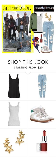 """Becky G as Yellow Ranger, Trini"" by polyvore-editorial ❤ liked on Polyvore featuring L'Agence, Topshop, Vince, Isabel Marant, Bloomingdale's, Clinique, Boohoo and PowerRangersMovie"