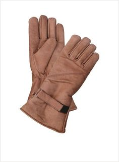 Brown Lined Gauntlet Leather Motorcycle Gloves with Velcro Strap by Allstate Leather. http://www.mymotorcycleclothing.com/
