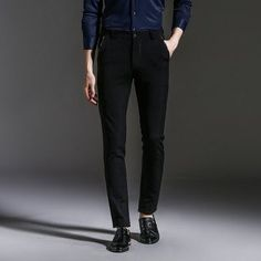 f97f7f13 2017 New Spring Autumn Fashion slim fit Men Casual Pants Straight Dress Men  Elastic Business Suit
