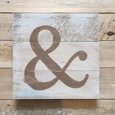 Ampersand on Reclaimed Wood Sign Painted in Shabby by CleverGoose $26