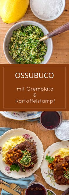 Ossobuco with gremolata and mashed potatoes, tender ossobuco, recipe ›foodistas.de Ossobuco with gremolata and mashed potatoes, tender ossobuco, recipe ›foodistas. Baked Meat Recipes, Stew Meat Recipes, Healthy Meat Recipes, Meat Recipes For Dinner, Pork Recipes, Thai Street Food, Potted Meat Recipe, Healthy Meats, Ground Beef Recipes Easy