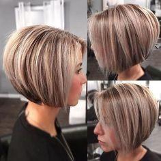 Modern Short Hairstyles, Popular Short Hairstyles, Bob Hairstyles For Fine Hair, Short Bob Haircuts, Trendy Haircuts, Summer Haircuts, Natural Hairstyles, Graduated Bob Haircuts, Inverted Bob Haircuts