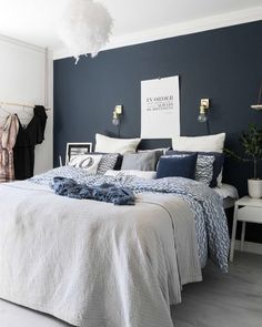 This is a Bedroom Interior Design Ideas. House is a private bedroom and is usually hidden from our guests. Much of our bedroom … Bedroom Green, Cozy Bedroom, Home Decor Bedroom, Bedroom Ideas, Navy Blue Bedrooms, Bedroom Bed, Blue Feature Wall Bedroom, Wall Paper Bedroom, Dark Blue Bedroom Walls