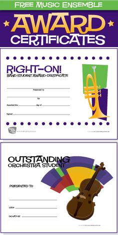 10 Free Music Ensemble Award Certificates - http://makingmusicfun.net/htm/printit_ensemble.htm