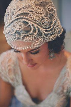 Style Me Pretty | GALLERY & INSPIRATION | GALLERY: 7801 | PHOTO: 561162 Great Gatsby Wedding, Art Deco Wedding, Glamorous Wedding, Vintage Headpiece, Vintage Veils, Pearl Headpiece, Great Gatsby Headpiece, Headdress, Wedding Veils