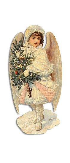 Extra large 12.5 inch glittered easel back standing Victorian angel Christmas card