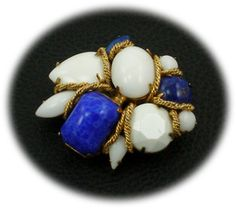 Vogue Jlry faux lapis pin $89 http://www.vintagecostumejewelryaddiction.com/vcja3848.html